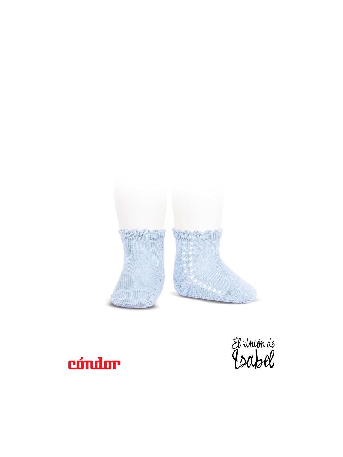 84e9d7d97 calcetines cortos perlé CALADOS lateral 410-AZUL BEBÉ